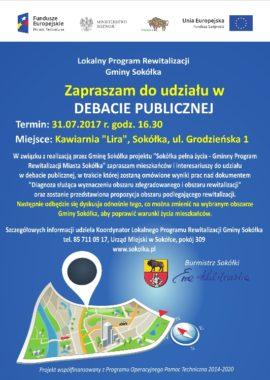 Plakat debata publiczna - rewitalizacja