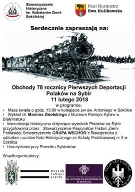 78. rocznica Pierwszych Deportacji Polaków na Sybir
