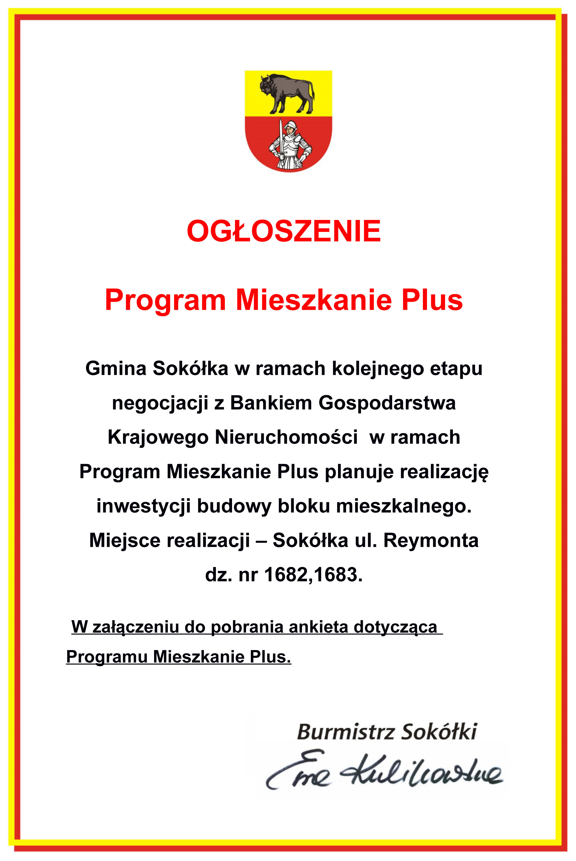 Ogłoszenie o programie Mieszkanie Plus