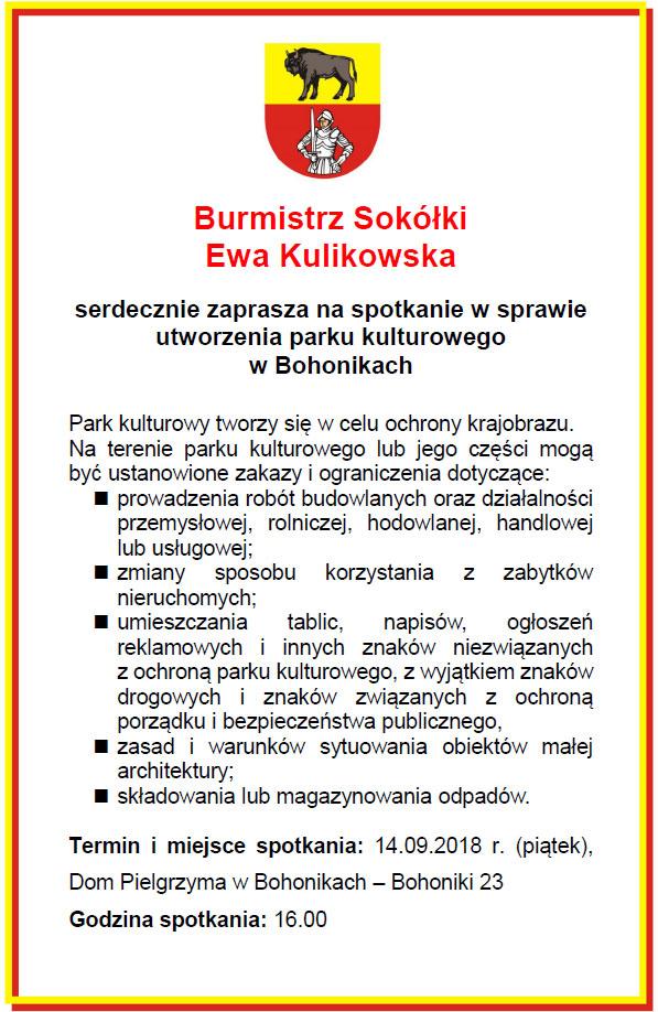 Ogłoszenie o spotkaniu w Bohonikach