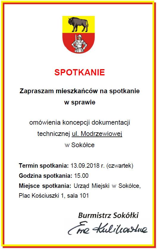 Ogłoszenie o spotkaniu 13 września 2018
