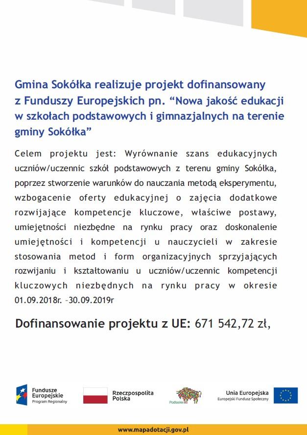 """21b1a501972dcd ... Sokółka"""" zgodnie z umową nr UDA-RPPD.03.01.02-20-00299/16-00, która  została zawarta w dniu 24.07.2018r. pomiędzy Województwem Podlaskim a Gminą  Sokółka."""
