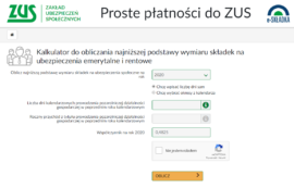 Zrzut ekranu kalkulatora ZUS